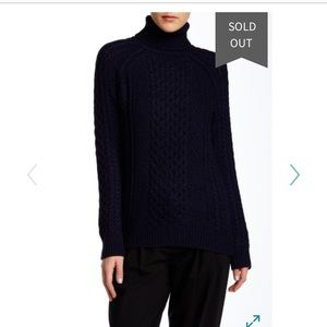 Vince Cableknit Turtleneck Navy Small